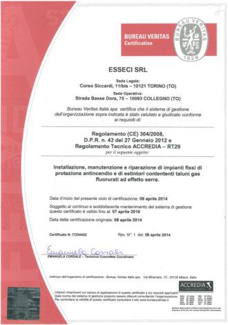 CERTIFICATO FGAS Bureau Veritas